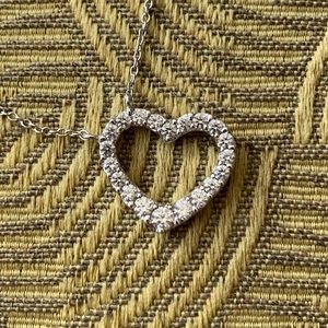 CZ Heart Necklace in Sterling Silver
